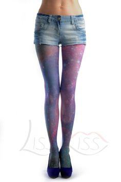 Amazon.com: Galaxy - Multicoloured Printed Tattoo Opaque Pantyhose (Tights): Clothing