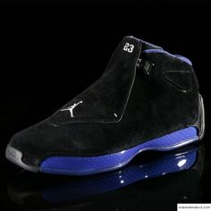 Saving one of the best for last, the XVIII with its radical one-piece upper and Comfort Control Plate, is worn by Michael Jordan on April 16, 2003 for his last game in the NBA.    MJ's last game shoe also has many firsts. Inspired by Italian high-performance racing cars, the XVIII employs a virtual one-piece upper in addition to a patented carbon fiber Comfort Control Plate and dual-layer Zoom Air cushioning.