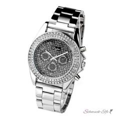 Damen Edelstahl Armbanduhr  Silver & Black  Strass...