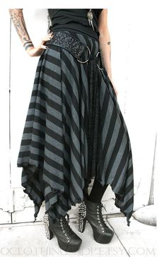 black n charcoal stripped skirt