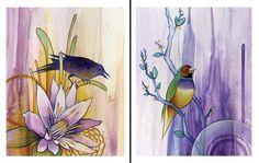 Blackbird and Lady Finch 8x10 Fine Art Print by BrittDeMarisArt, $35.00