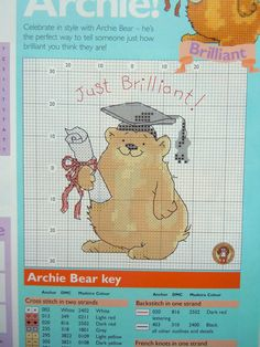 CROSS STITCH CHARTS MARGARET SHERRY GRADUATION CONGRATULATIONS BEAR CHART