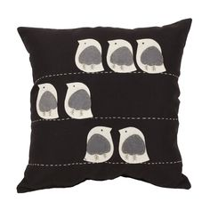 Felt Birds Black 18-inch Throw Pillow | Overstock.com