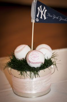 baseball wedding centerpiece...use different teams for each table for seating