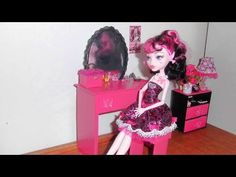 How to make a Bedroom Vanity for doll (Monster High, Barbie, etc) - YouTube