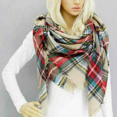 """Oversized Tartan Plaid Blanket Scarf Size;52"""" L X 56"""" W 100% Acrylic Accessories Scarves & Wraps"""