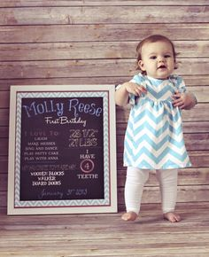 First Birthday Stats  |  dalton ln photography  With any birthday, the board would make a cute pic