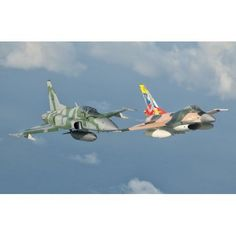 Venezuelan Air Force F-16 and Brazilian Air Force F-5 in flight over Brazil Canvas Art - Giovanni CollaStocktrek Images (35 x 23)