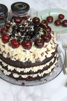 A Three Layer, Chocolate and Kirsch Sponge, with Vanilla Buttercream, and all things Cherry and Chocolate. My delicious Black Forest Gateau! Cherry Desserts, Köstliche Desserts, Delicious Desserts, Black Forest Cheesecake, Black Forest Cake, Cake Base Recipe, Baking Recipes, Cake Recipes, Xmas Recipes