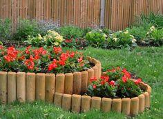 wood flower bed edging