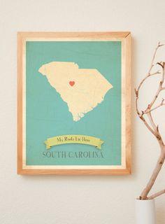 South Carolina Roots Map 11x14 Customized Print. $40.00, via Etsy.