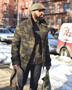"1,140 Likes, 77 Comments - Stuylin (@stuylin) on Instagram: ""Winter is probably my second favorite season. You can layer up as much as you want. You'd probably…"" Big Men Fashion, Camo Fashion, Black Men Winter Fashion, Ootd Fashion, Beard Fashion, Winter Outfits Men, Camo Jacket, Military Jacket, Sharp Dressed Man"