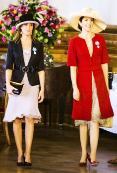Princess Marie and Princess Mary of Denmark...I love both of their styles...and their hats!