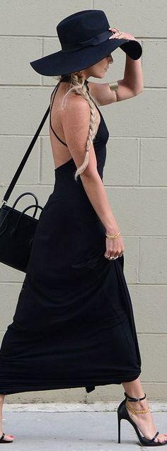 Vanessa Hudgens:  Shoes – Saint Laurent  Hat – River Island  Purse – Celine  Dress – Rachel Pally