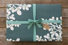 Eco-Friendly Teal Berries Gift Wrap, recycled paper, vegetable-based ink