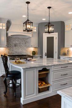 New kitchen backsplash with white cabinets granite light fixtures ideas Kitchen Redo, New Kitchen, Kitchen Dining, Kitchen Ideas, Kitchen Pantry, Island Kitchen, Kitchen Rustic, Pantry Ideas, Kitchen Brick