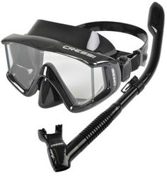 Cressi Panoramic 3-Window Wide-view Scuba Snorkeling Mask Dry Snorkel Set, Black
