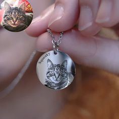 Dainty and simple round pendant necklace laser engraved with an image of your pet! Gifts For Pet Lovers, Gifts For Wife, Engraved Dog Tags, Pet Loss, Round Pendant, Love Design, Pet Portraits, Rose Gold Plates, Laser Engraving