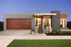Long Island Homes Tallai 290 Display Bungalow House Design, House Front Design, Small House Design, Modern House Design, Flat Roof House Designs, Home Builders Melbourne, New Home Builders, Contemporary House Plans, Modern House Plans