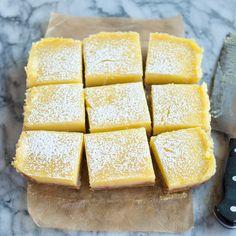Recipe: Heavenly Lemon Bars with Almond Shortbread Crust (replace flour w GF flour) — Dessert Recipes from The Kitchn Just Desserts, Dessert Recipes, Delicious Desserts, Lemon Desserts, Summer Desserts, Dessert Ideas, Shortbread Crust, Shortbread Cookies, Lemon Bars