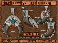Navajo Made Bear Claw Pendant Collection With Turquoise And Red Coral Stones- from Tribal And Western Impressions- Old West Cowboy And Indian Store - www.indianvillagemall.com