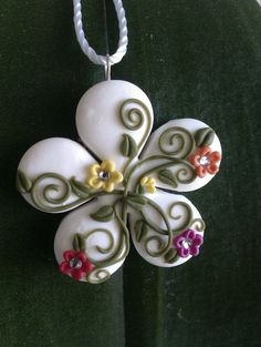 Handmade polymer clay multicolored flowershaped by MiniCose, €16.00