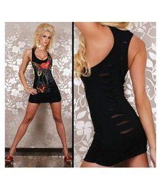 EDhardy style low cut singlet with splits mini sexy tight dress black sexy clubwear