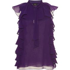 Giambattista Valli Silk Ruffled Blouse (879.445 CLP) ❤ liked on Polyvore featuring tops, blouses, flounce tops, sleeveless tops, sleeveless ruffle blouse, purple blouse and purple ruffle blouse