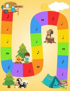 Camping in Note Land-Fun way to learn note values! Elementary Music Lessons, Music Lessons For Kids, Music Lesson Plans, Music For Kids, Piano Lessons, Children Music, Kindergarten Games, Preschool Games, Piano Games