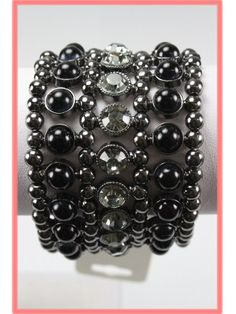 Beaded Gunmetal, Black and Rhinestone Stretch Cuff Bracelet for the girls
