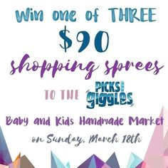 Some amazing shops have teamed up to give away THREE $90 shopping sprees to the @picks_and_giggles Baby and Kids Handmade Market on March 18th. The shopping spree can be spent however the winners decide at any of the participating shops!!!   HOW TO ENTER: Follow me head over to @littlefrogcollection  next hit follow and look for this post. Follow the next tagged shop and continue following the loop. Once you get back here tell us what you're hoping to score at the show. It's THAT easy…