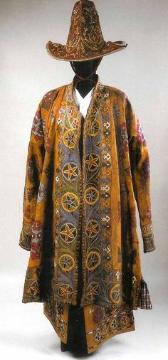 Man's costume Kazakh leather with silk embroidery , hat velvet with gold embroidery second half 19th c