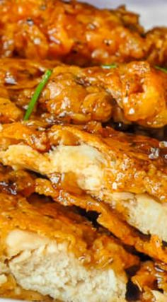 Double Crunch Honey Garlic Chicken Breasts ~ This super crunchy double dipped chicken breast recipe with an easy honey garlic sauce is our most popular recipe ever.