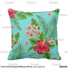 Cute Coral Tropical Hibiscus Flower On Turquoise Throw Pillow