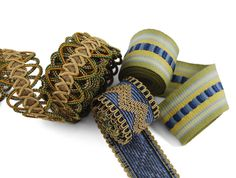 Borders, tapes and gimps are wonderful trims to adorn draperies, pillows, furniture and home accessories. Available at BRIMAR. Window Hardware, Drapery Hardware, Tab Curtains, Textured Yarn, Passementerie, How To Make Ribbon, Home Accessories, Weaving, Take That