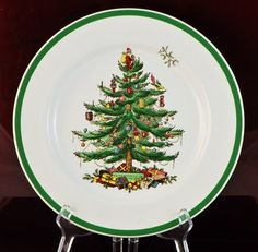 """Copeland Spode England Plate - Christmas Tree # S3324  $15.00  Vintage Copeland Spode England  Christmas Tree - Dinner Plate  10"""" x 10""""  Signed - Numbered # S3324"""