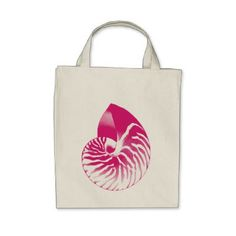 Nautilus shell - Fuchsia Pink and White Tote Bag  $16.70  by Floridity  - cyo customize personalize diy idea