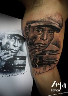 Photo real portrait of Miles Davis by Zeta Tattoo