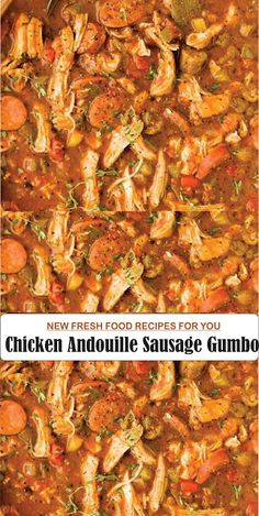 gumbo recipe authentic new orleans . gumbo recipe easy new orleans Chicken Andouille Sausage Recipe, Chicken Gumbo Recipes, Sausage Gumbo, Stew Chicken Recipe, Sausage And Chicken Gumbo, Chicken Gumbo Soup, Shrimp Gumbo, Low Carb Crockpot Chicken, Crockpot Recipes