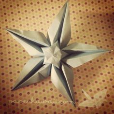 Origami Star Flower with diagrams and tutorial video.  Thank you, Paper Kawaii!