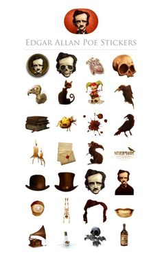 """ipoecollection: """" Edgar Allan Poe stickers (for iMessage) """" Edgar Allan Poe, Halloween 2017, Halloween Horror, Allen Poe, Arte Horror, Classic Literature, Cthulhu, Caricature, Painted Rocks"""