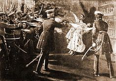 The May Overthrow (Serbian: Мајски преврат, Majski prevrat) was a coup d'état in which Serbian King Alexander Obrenović and his wife, Queen Draga, were assassinated inside the Royal Palace in Belgrade on the night of 28-29 May 1903 by the Julian calendar (10-11 June by the Gregorian calendar). This act resulted in the extinction of the House of Obrenović which had been ruling Serbia since the middle of the 19th century.