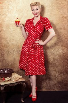 The Seamstress of Bloomsbury Peggy Wrapover Dress in Red and White Autumn Fashion Casual, Fall Fashion Outfits, Fashion Dresses, Frankenstein, Vintage Inspired Dresses, Vintage Outfits, Retro Outfits, Vintage Clothing, Red Polka Dot Dress