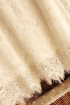 Eyelash Lace Fabric, Off White French Gauze Lace, Fringe Scalloped Edge Lace Netting Gauze Veil Faric- Lace by Yard Antique Lace, Vintage Lace, 3d Rose, White Curtains, Linens And Lace, Blossom Flower, Scalloped Edge, Bridal Lace, Blackout Curtains