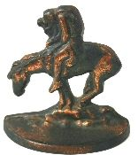 """Bronze-tone """"The Last Trail"""" SINGLE bookend. Shows a Native American slumped over on his horse. Incised on the back 902, The last Trail, COPR, 1980, a symbol, and the number 6 at the top. Magnet does stick to this item. 4 1/2"""" wide by 4 3/4"""" tall."""
