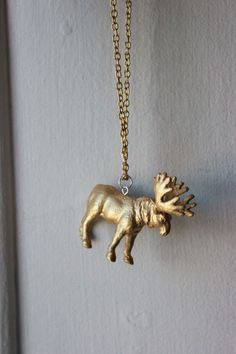 Leather car accessories moose hanging necklace charm jewelry new hand painted gold moose necklace 13 aloadofball Images