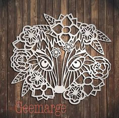 Fox and flowers Paper cut template by geemarge by TattyCatArt