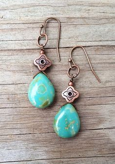 Turquoise Blue And Copper Teardrop Earrings, Bohemian Jewelry, E543
