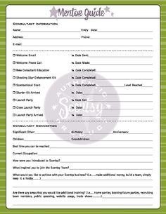 Scentsy mentor guide info sheet. Team