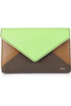Chloé  Color-block leather envelope clutch